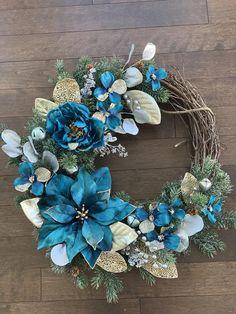 Blue Winter Wreath Southern Wreath Blue Winter Wreaths for Front Door Winter Wreath Modern January Wreath Winter Decor Christmas Wreaths For Front Door, Holiday Wreaths, Winter Wreaths, Blue Christmas Decor, Christmas Crafts, Christmas Decorations, Types Of Blue, Poinsettia Wreath, Deco Mesh Wreaths
