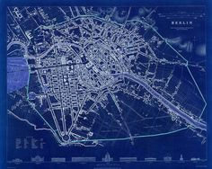 Berlin Vintage Map 1833 Blue or Sepia 2 sizes by RobertsMaps, $19.00