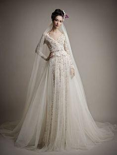 Ersa Atelier dress with sheer overlay // Top Wedding Dress Trends for 2015 - Part 1