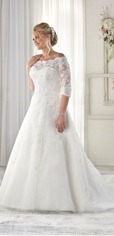 Marvelous Tulle Off-the-shoulder Neckline A-line Plus Size Wedding Dresses with Beaded Lace Appliques