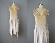 Vintage 20s SilverWhite Silk Velvet Flapper by OffBroadwayVintage, $365.00