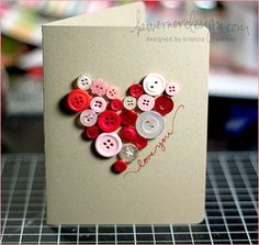 I love this idea for a kids craft for valentine's day!  Get buttons and cardstock.  Trace a heart outline or let kids create their own design and glue the buttons on the cards!