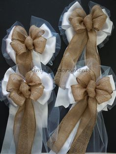Simplyadornments Bow, shabby chic burlap pew bows https://www.etsy.com/listing/244794604/shabby-chic-burlap-wedding-pew-bow-fall?ref=shop_home_active_8