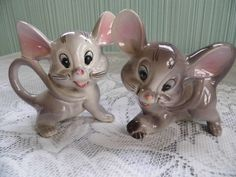 Salt and Pepper Shakers Grey Mice by PrincessLolli on Etsy,