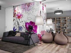 Beautiful Living Room Wall Decor with Pink Flower Living Room Interior Decorating Plans Living Room Murals, Living Room Decor Colors, Living Room Mirrors, Room Wall Decor, Living Room Grey, Room Colors, Living Room Designs, Room Art, Bedroom Wall
