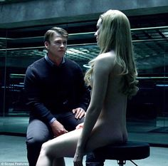 Naked ambition: Evan Rachel Wood goes fully naked as character Delores in a new still from HBO series Westworld in a scene opposite Luke Hemsworth