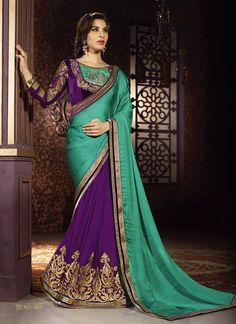 Attract compliments by this Sophie Chaudhary green and purple chiffon satin and georgette half n half designer saree. You can see some fascinating patterns done with embroidered, lace and zari work. C...