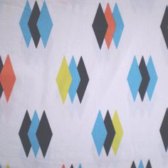 2.25 Yards Vintage Mid Century Diamond Fabric by TextilesandThings, SOLD