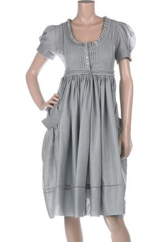 alexander mcqueen's gray blue pleated pintuck cotton dress