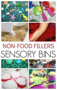 Sensory Table-Easy non food sensory bin fillers for sensory play. Sensory bins are perfect for early childhood learning including toddler, preschool, and kindergarten age kids. Make fun sensory bins for every holiday and season too. Sensory Tubs, Sensory Boxes, Sensory Activities, Sensory Play, Preschool Activities, Toddler Preschool, Sensory Diet, Toddler Teacher, Toddler Classroom