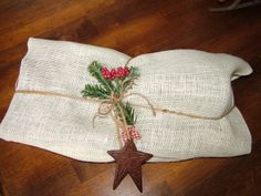 Going green this year: reusable gift wrap Rustic Country  Primative burlap Christmas wrap gift present