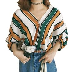 e9663527882994 2018 summer new fashion women loose shirts casual V neck stripes print –  rricdress Retro Style