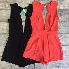 Coral Romper Cutest coral romper ever!!! Wear with a simple gold cuff. Invisible zipper. Fits true to size. Model wears a size smallxxx Pants Jumpsuits & Rompers