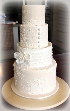 Champagne and Lace Wedding Cake
