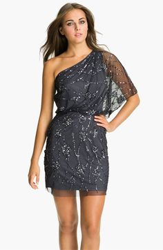 Adrianna Papell Embellished One Shoulder Mesh Dress available at #Nordstrom