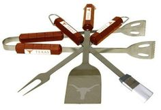 Texas Longhorns 4 piece Barbecue (BBQ) set - NCAA by BSI. $38.95. Tailgating never looked so good! This stainless steel BBQ set is a perfect way of showing your team pride on Game Day. Each utensil is printed with your favorite College team's artwork. The set includes tongs, brush, fork and a laser etched spatula.