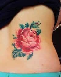 What does cross stitch tattoo mean? We have cross stitch tattoo ideas, designs, symbolism and we explain the meaning behind the tattoo. Home Tattoo, Get A Tattoo, Text Tattoo, Pixel Tattoo, Kunst Tattoos, Body Art Tattoos, Cool Tattoos, Pink Tattoos, Tattoo Art