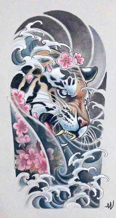 Japanese Tattoos 20522 Proff Tattoo - Tattoo salon in Yekaterinburg - art tattoo studio Japanese Tiger Tattoo, Japanese Tattoo Designs, Japanese Sleeve Tattoos, Japanese Tattoo Women, Kunst Tattoos, Irezumi Tattoos, Body Art Tattoos, Girl Tattoos, Japan Tattoo Design
