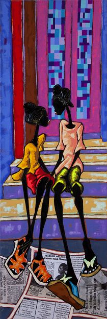 Stoop Girls, 2013   Mixed Media Collage on Canvas   15 x 36   2100.00