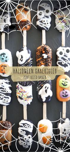 Fun cakesicles all dressed up for Halloween! These are stuffed with chocolate cake and a layer of caramel in the center. Have fun with your cakesicles. This post has the link to buy the molds, popsicle sticks, and decorations you can get at your local store. #cakesicles #cakepops #halloweentreats #candy #halloween