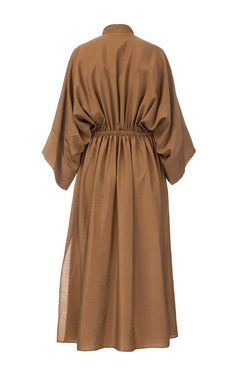 Brown Batiste Dress with Oversize Sleeves