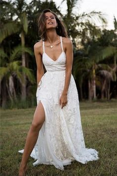 Charming Wedding Dresses,Lace Wedding Dress,Spaghetti Straps Wedding Gown,Beach Bridal Dress,Sexy Wedding Dress,Summer Wedding Dress