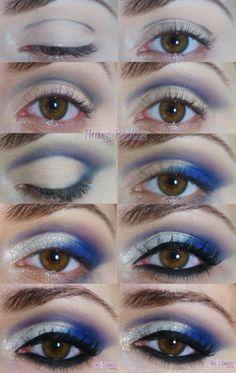Thais Benites Make up: Tutorial em foto - Azul festivo New cheer makeup? Cheerleading Makeup, Cheer Makeup, Cheerleading Tips, Glitter Eye Makeup, Eye Makeup Tips, Makeup Ideas, Makeup Hacks, Wedding Makeup Tips, Prom Makeup