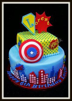 Red Velvet with white chocolate buttercream - pop art superhero cake