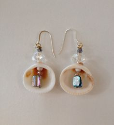 Beach wedding sea shell earrings by ishkabibblesdesigns on Etsy Hawaiian wedding dresses www.ishkabibbles.net
