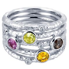 """Gabriel Sterling Silver """"Souviens"""" Collection Mulit-Color Gemstone Ring"""