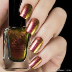 Get your nails in holiday spirit with this red, copper, gold, and green multi-chrome polish. This polish can be worn alone in 2-3 coats or top it with any color! Collection: Christmas 2014 Collection