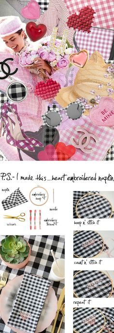 P.S.- I made this...Heart Embroidered Napkin with @oleanderandpalm #PSIMADETHIS #DIY #INSPIRATION #COLLAGE