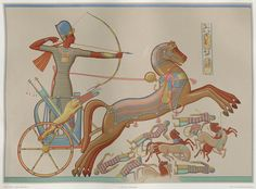 By the banks of the Orontes river, King Ramses II battles the Hittites (Khetas) from his chariot. Although not stated, this illustration presumably derives from a sculpture or bas-relief at the Ramesses II temple at Abu Simbel in Nubia. Egyptian Pharaohs, Egyptian Queen, Ancient Egyptian Costume, Egyptian Decorations, Egyptian Drawings, The Bible Movie, Sculpture, Ancient Civilizations, Free Illustrations