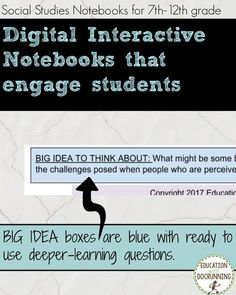 It's not enough to just go digital.interactive notebooks should be INTERACTIVE! Engage students actively with digital notebooks in your social studies classroom. Social Studies Notebook, Social Studies Classroom, Secondary Resources, Secondary Teacher, Study History, History Education, Cooperative Learning, Student Learning, We Are Teachers
