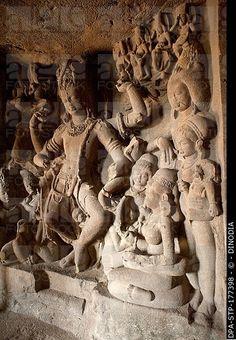 Shiva tandav nritya at ellora cave known as ramesvara , Aurangabad , Maharashtra , India