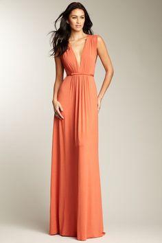 Rachel Pally Soft Coral Orange Sleeveless Caftan Maxi Dress