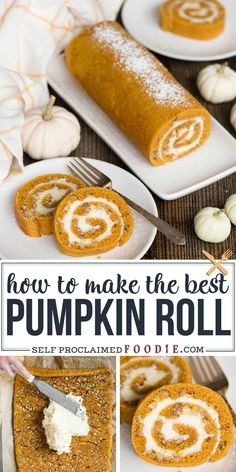 This delicious Pumpkin Roll recipe combines moist pumpkin spice cake and a secret ingredient cream cheese filling. You'll love my easy no-mess rolling tips! Desserts {The BEST Classic} Pumpkin Roll Recipe Köstliche Desserts, Delicious Desserts, Dessert Recipes, Yummy Food, Health Desserts, Plated Desserts, Healthy Food, Dinner Recipes, Oreo Dessert