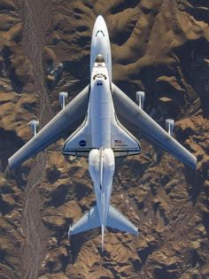 Cool photo angle! Shuttle being flown home on a 747