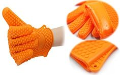 Bailyn Heat Resistant Silicone Oven Mitts BBQ Glove One Pair Kitchen Gloves For Cooking Baking Smoking With Anti Slip Grip patterns One Size Fits MostBarbecue Grill Accessories Potholder Orange * Want to know more, click on the image.