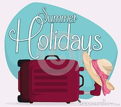 Illustration about Purple travel bag lay down in the floor holding a elegant hat with pink ribbon and a blue sign announcing summer holidays. Illustration of sign, tropical, recreation - 73479787 Holiday Signs, Purple, Pink, Blue, Burger King Logo, Travel Bag, Ribbon, Typography, Floor