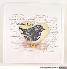 Card by Suzanne Czosek using Darkroom Door Robin Eclectic Stamp, Heart Stencil Set and French Script Texture Stamp Heart Stencil, Distress Oxide Ink, Pen And Watercolor, Heart Cards, Word Art, Birthday Cards, Art Projects, Stencils, My Arts