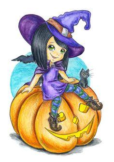 Little witch on pumpkin by jkBunny on deviantART