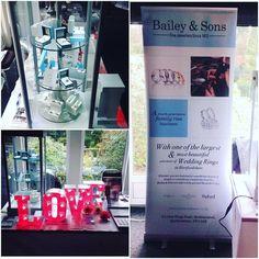 "We are exhibiting at Hunton Park today come and say hello where our ""LOVE"" lights up the way! @bespokelightupletters #platinum #diamond #emerald #sapphire #ruby #handmade #jewellery #diamondjewellery #gold #berkhamsted #hertfordshire #london #watch #luxury #england #engagementring #wedding #weddingring #baileyandsons #raymondweil #frederiqueconstant #tissot #clogau #bespokejewellery #pendant #ring #bracelet #earrings"