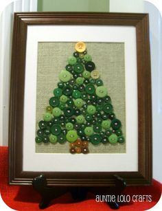 Christmas Tree Button Art, Size 10x13 on Burlap with mat.