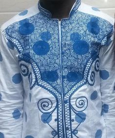 <3 hubby's bazin riche.  Korité 2014, made in Treichville, Côte d'Ivoire. <3 African Inspired Clothing, African Clothing For Men, African Shirts, African Men Fashion, African Wear, African Dress, African Style, Hi Fashion, Fashion Wear
