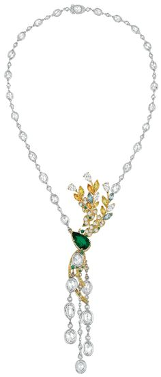 Épi d'été #Necklace from #LesBlesDeChanel - #Chanel - #FineJewelry collection in 18K white and yellow gold set with a 4.7 carat #PearCut - #Emerald, 8 MC #YellowSapphires (5.1 cts), 3 MC #Aquamarines (1.5 ct), 17 BC emeralds, 12 BC #Paraiba - #Tourmalines, 43 BC fancy vivid #YellowDiamonds, 13 BC #CognacDiamonds, 5 #RoseCut - #BrownDiamonds, 8 RC diamonds (12 cts), 5 #FancyCut diamonds (2.9 cts), 25 RC oval diamonds (14.1 cts), 68 RC diamonds (3.7 cts) & 164 BC diamonds (1.8 cts) - July 2016