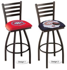 The officially licensed NHL Montreal Canadiens Bar Stool carries a defined black Ladder-style-back that adds comfort and sophistication. Comes in 2 heights. Visit sportsfansplus.com for details.