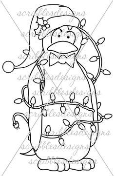 $3.00 Twinkle Brrr Digital Stamp (http://buyscribblesdesigns.blogspot.ca/2013/10/228-twinkle-brrr-300.html) #digital stamps #digis #penguins #scribbles designs #christmas #lights