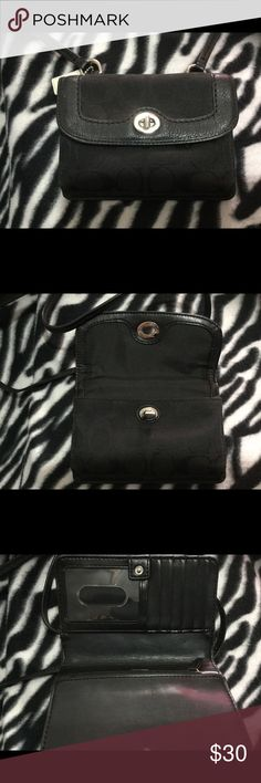 Coach small side purse Coach small side bag, black, long strap. Holds cards. Coach Bags Mini Bags