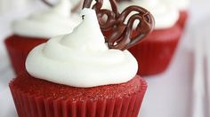 Little versions of classic red velvet cake! Frost with cream cheese frosting or white frosting.